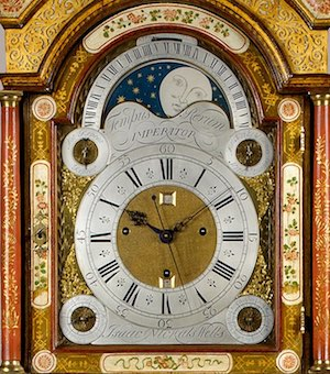 isaac nickals an important george ii period cream lacquer three train longcase clock 1566901589