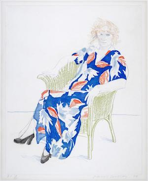 david hockney celia in wicker chair art for sale