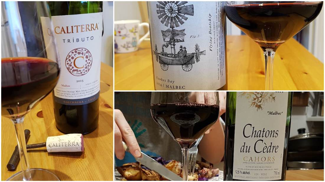 malbec wines from Cahors France and Colchagua Valley Chile and Hawkes Bay